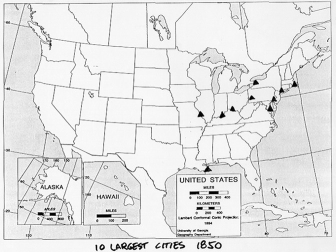the largest cities in 1850